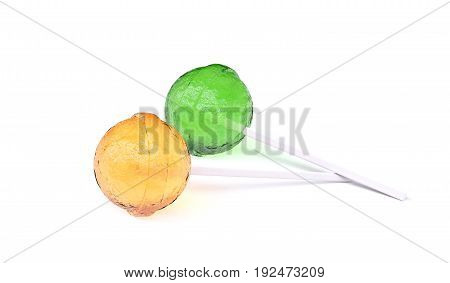 Yellow and green lollipops lying on white background, with soft shadows. 3d image