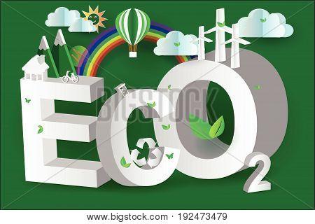 eco green city design 3d isometric vector