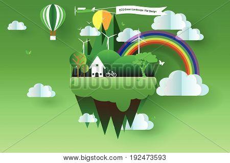 Eco green landscape flat design vector illustrator