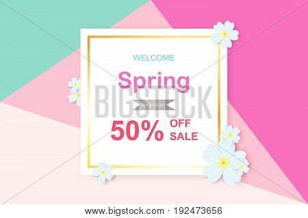 Spring sale background with beautiful colorful flower. Vector illustration template.banners.Wallpaper invitation posters brochure voucher discount.