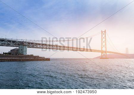 The longest suspension bridge Akashikaikyo bridge in Kobe Japan