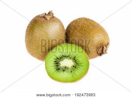 Close-up fresh three kiwi fruits two whole kiwi and one kiwi was cut in half isolated on white background