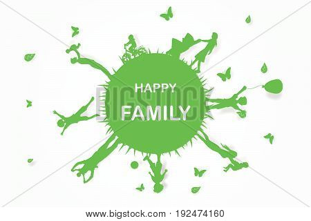 Green background happy family having fun playing in the field circle Environment earth world, vector