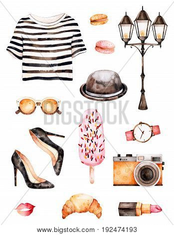 Handpainted texture with striped top, cosmetics, shoes, ice cream, macaroons, hat