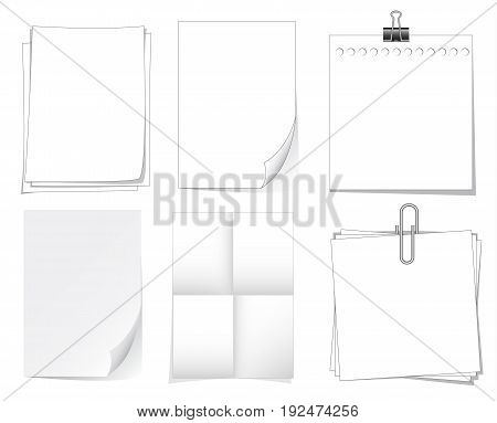 notebook paper and sheet isolate on white background for memo vector set