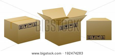 brown packaging boxes with warning signs on white background