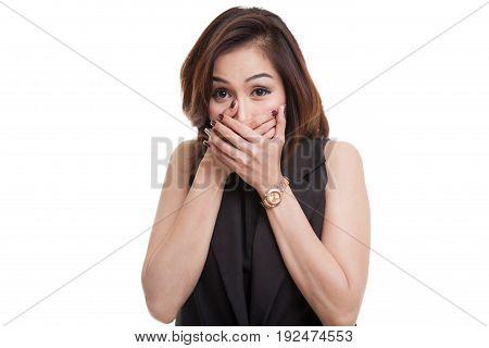 Beautiful Young Asian Woman Close Her Mouth.