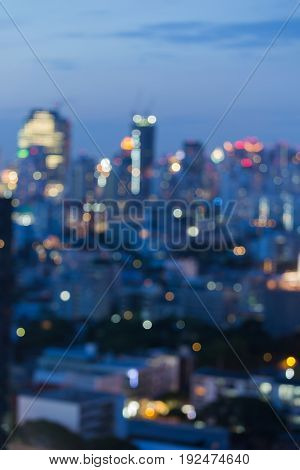 Abstract blurred bokeh city downtown light night view abstract background