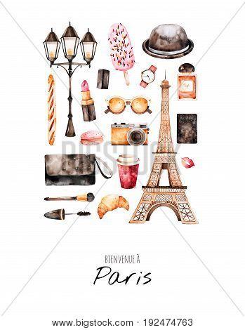 Handpainted postcard with cosmetics,Tour Eiffel, coffee, camera, parfum, sweet, bag