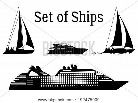 Set of Marine Vehicles, Ship, Sailboat, Yacht, Black Silhouettes Isolated on White Background. Vector