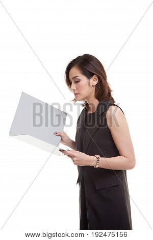 Young Asian Woman With Folder.