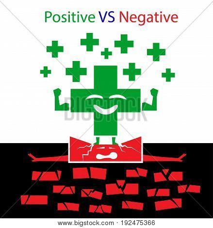 positive VS negative concept on white background
