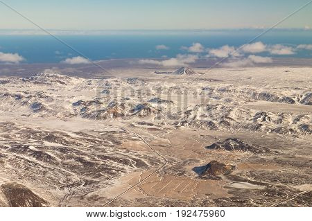 Top view Iceland mountain and seacoast skyline winter season landscape background