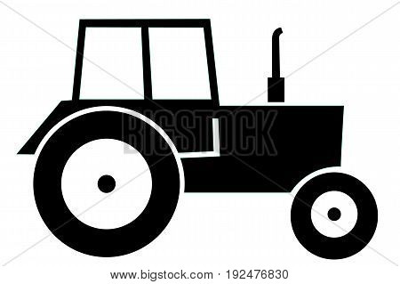 Vector illustration of classic black modern Tractor.
