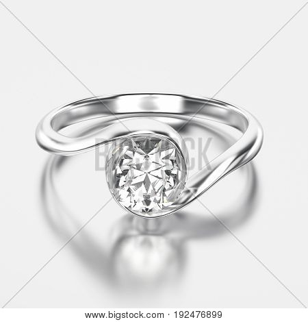 3D illustration white gold or silver ring with diamond with reflection on a grey background