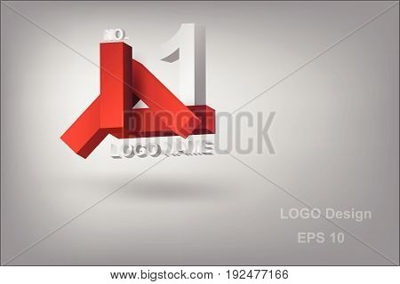 logo design character L with geometry 3d red vector
