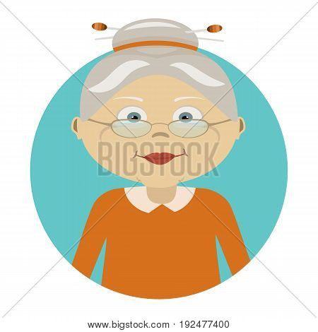 Old woman with glasses. Icon of person. Flat icon of granny's face. The character. Avatar for web.