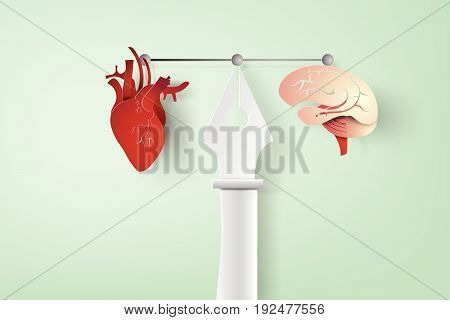 paper art of pen graphic designer and work tools and equipment brain,heart Vector illustration.