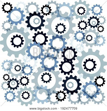 Color gears isolated on white background. Vector illustration.
