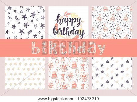 Happy Birthday seamless patterns and hand lettering collection. Greeting card, invitation, poster. Modern typography design elements, isolated on white. Vector illustration