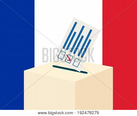 Election in France concept. Voting paper and a ballot box with french flag on a background, flat design, vector illustration
