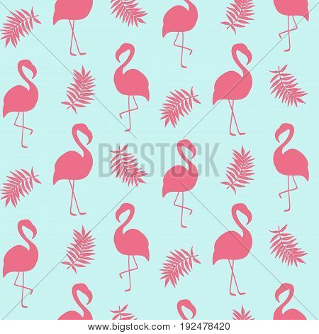 Beautiful seamless pattern with pink flamingo isolated on white, trendy fashion textile print, pop art vector design. Retro 80s style