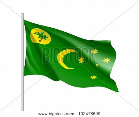 Waving flag of Cocos Keeling Islands. Illustration of Asian country flag on flagpole. Vector 3d icon isolated on white background