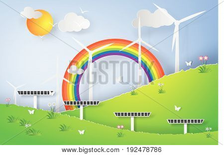Paper art of Green Wind Turbine Solar Energy Panel World Environment Day Natural Green forest Landscape vector