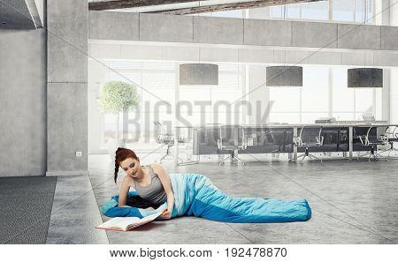 Girl tourist having rest. Mixed media
