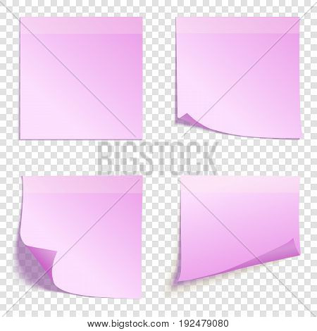 Set of square pink sticky notes isolated on transparent background, vector illustration