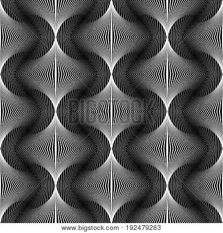 Design Seamless Monochrome Waving Decorative Pattern