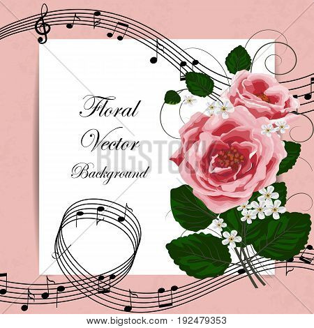 Vector illustration of a card with beautiful roses and music notes.