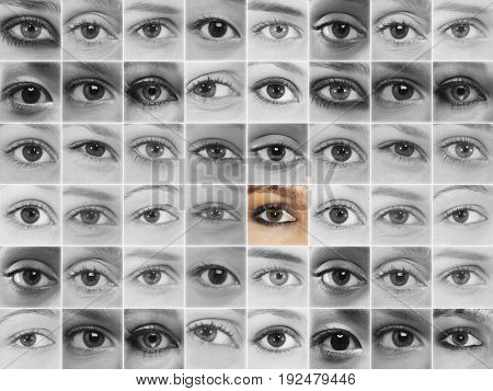 Large number of human eyes in grid