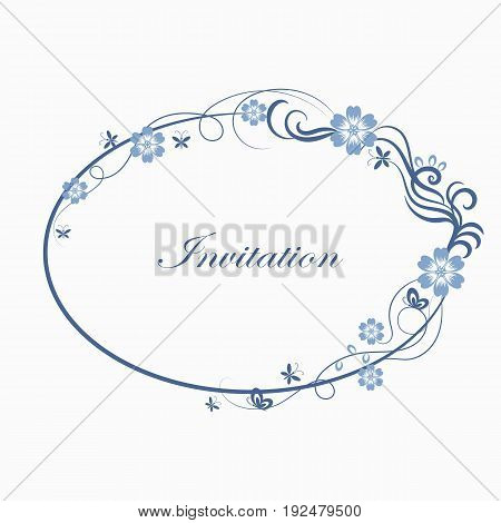Beautiful oval simple ornamental frame in blue colors.