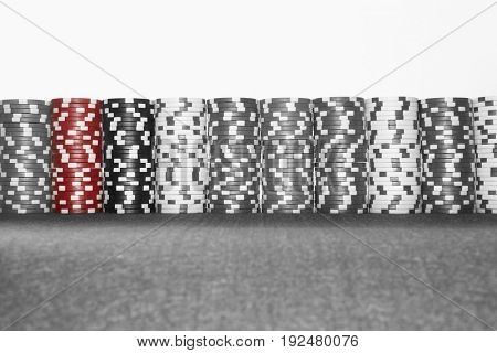 Poker chips stacked on table