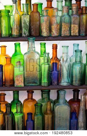 Old small bottles found in the excavations