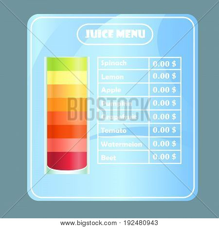 Design sample juice menu for cafes restaurants bars. A large glass with juices and a plate with prices on a gradient abstract background vector illustration.