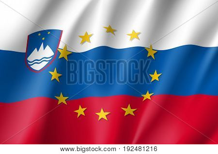 Slovenia national flag with a circle of European Union twelve gold stars, identity and unity with EU, member since 1 May 2004. Realistic vector style illustration