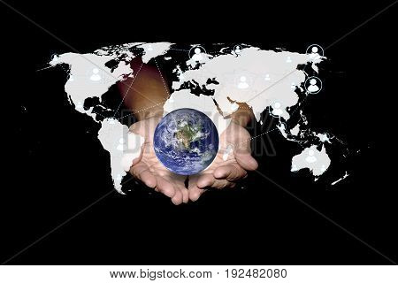 Social network can help the world. Technology concept. Elements of this image furnished by NASA.