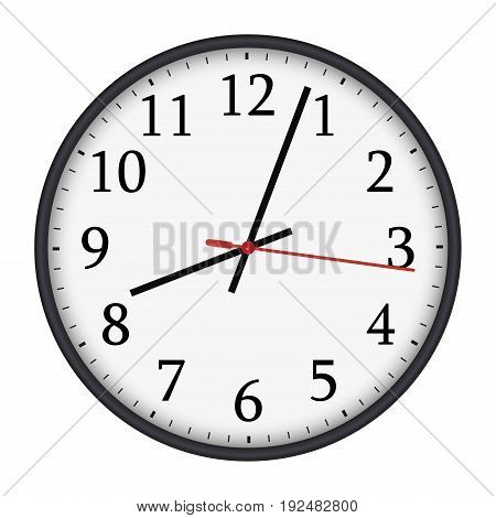 Classic black and white round wall clock isolated on white background. Vector illustration