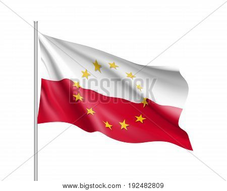 Poland national waving flag with a circle of European Union twelve gold stars, symbol of unity with EU, member since 1 May 2004. Realistic vector illustration