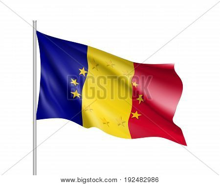 Romania national waving flag with a circle of European Union twelve gold stars, ideals of unity with EU, member since 1 January 2007. Realistic vector illustration