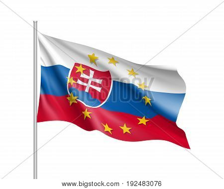 Slovakia national waving flag with a circle of European Union twelve gold stars, political and economic union, EU member since 1 May 2004. Realistic vector illustration