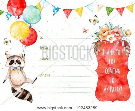 Beautiful invitation card with cute raccoon, garland, multicolored balloons