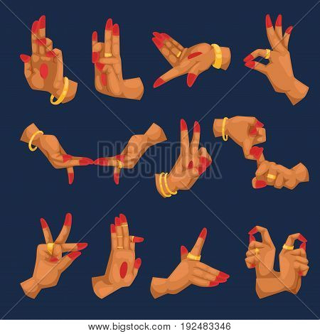 India woman hands with namaste mudra on white background sign and indian yoga language gestures relating to hinduism or buddhism mudras vector illustration. Traditional hindu religious finger concept.