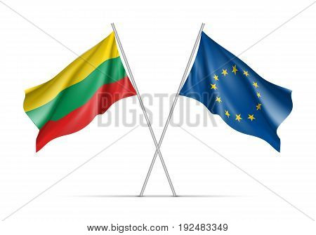Lithuania and European Union waving flags on flagpole. EU sign with twelve gold stars on blue and Lithuania national symbol yellow, green and red colors. Two flags isolated on white background