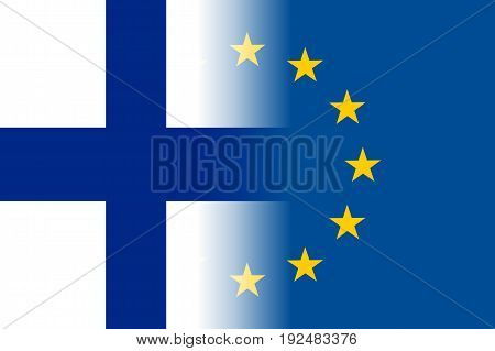 Finland national flag with a flag of European Union twelve gold stars, symbol of unity with EU, member since 1 January 1995. Vector flat style illustration
