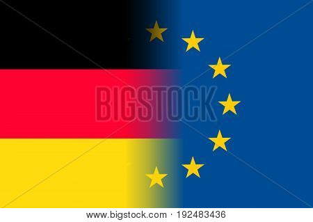 Germany national flag with a flag of European Union twelve gold stars, political and economic union, EU member since 1 January 1958. Vector flat style illustration