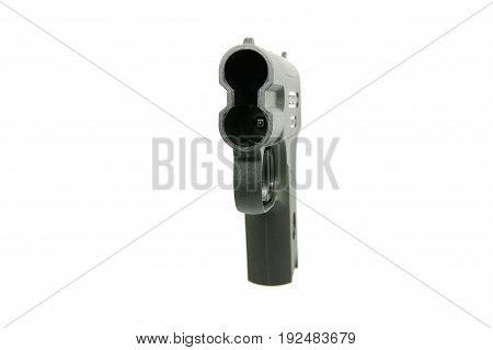 Aerosol pistol, gas weapon on a white background.