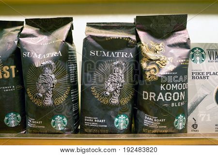SEOUL, SOUTH KOREA - CIRCA MAY, 2017: close up shot of Starbucks coffee packs. Starbucks Corporation is an American coffee company and coffeehouse chain.